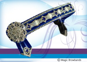 Royal blue and white deluxe diamond chain with silver rosettas
