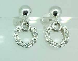 Horse shoe earrings with cz