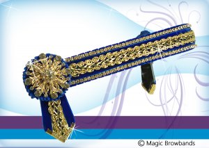 Royal blue and gold braid with large gold crystal rosettes