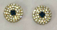 czech crystal pav dk blue centre, gold set, 27mm, set of 2