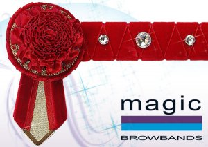 Red and gold carnation with large swarovski crystal features
