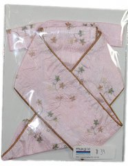 Baby Pink Embroidered Crushed Taffeta with tan piping