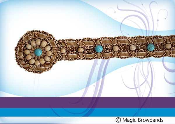 New Indian Browband - Turquoise Beads - Click Image to Close