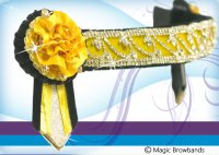 Yellow carnations with black and silver crystal chain
